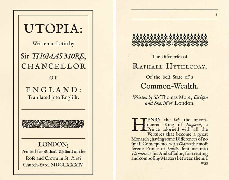 TItle Pages from More's Utopia, reconstructed facsmile