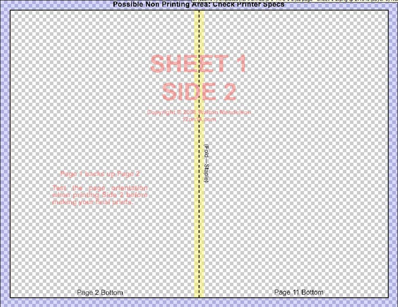 Template for 5 1/2 X 8 1/2 inch 4 page Book Template